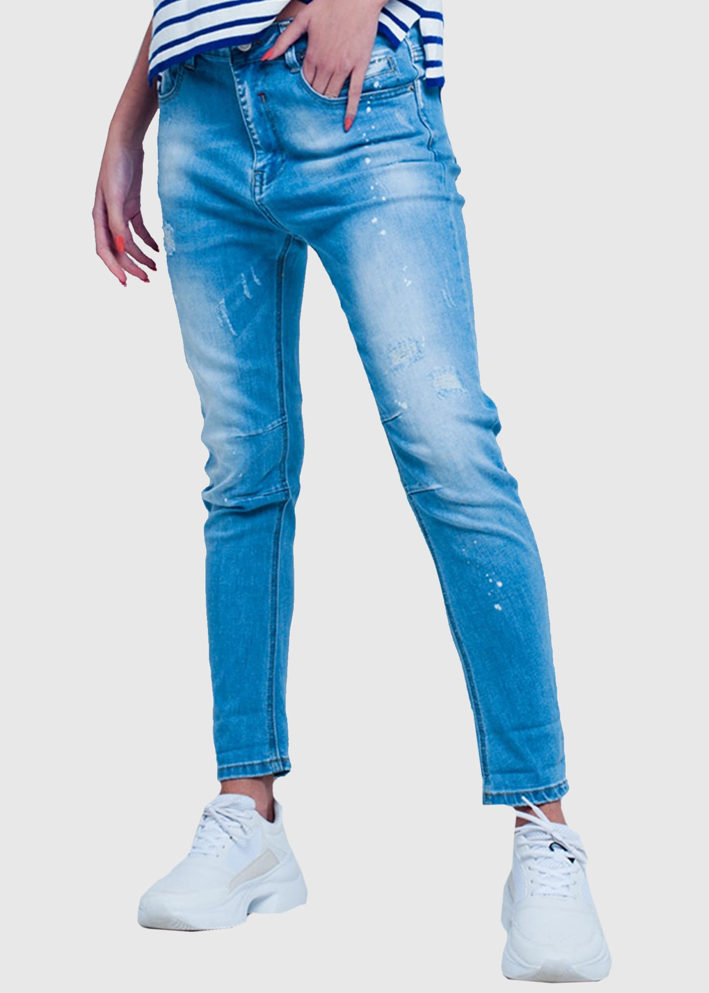 Slim Fit women's distressed jeans