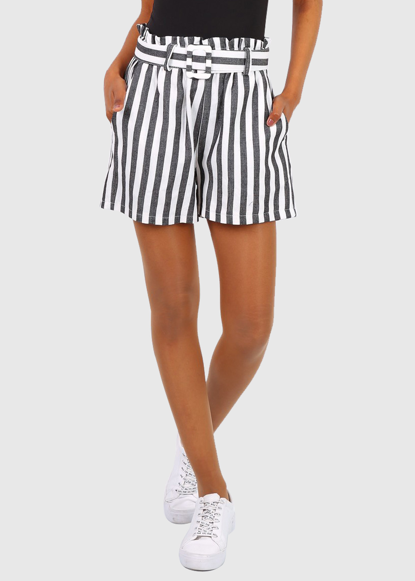 Marcella black striped shorts