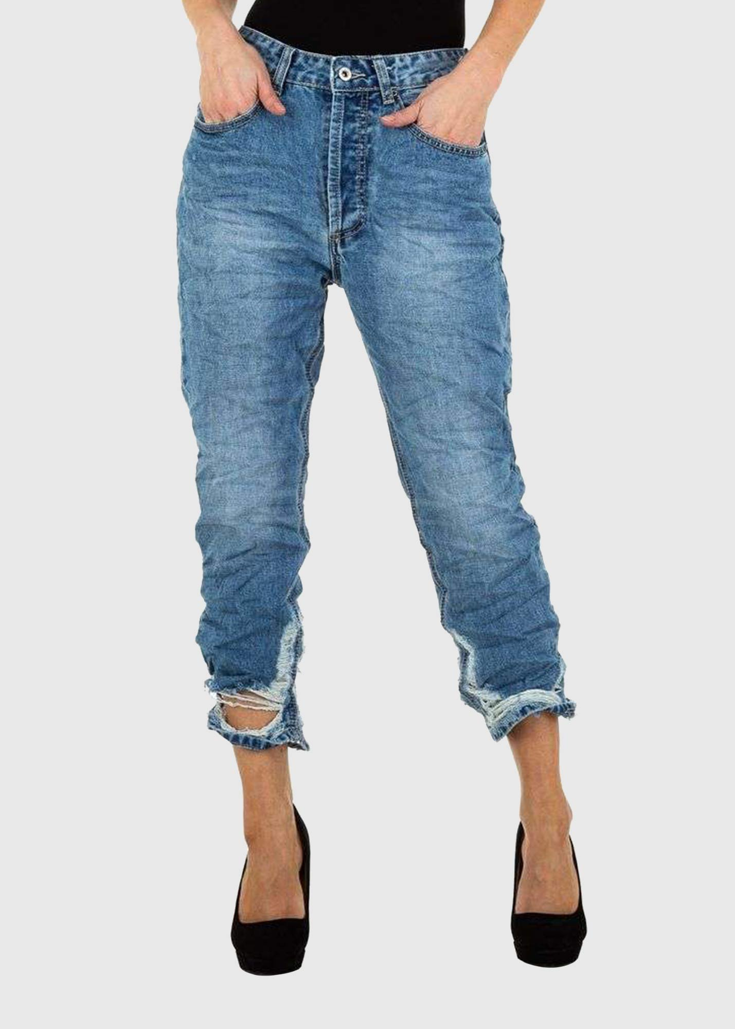 Ornella Skinny Fit blue ripped jeans