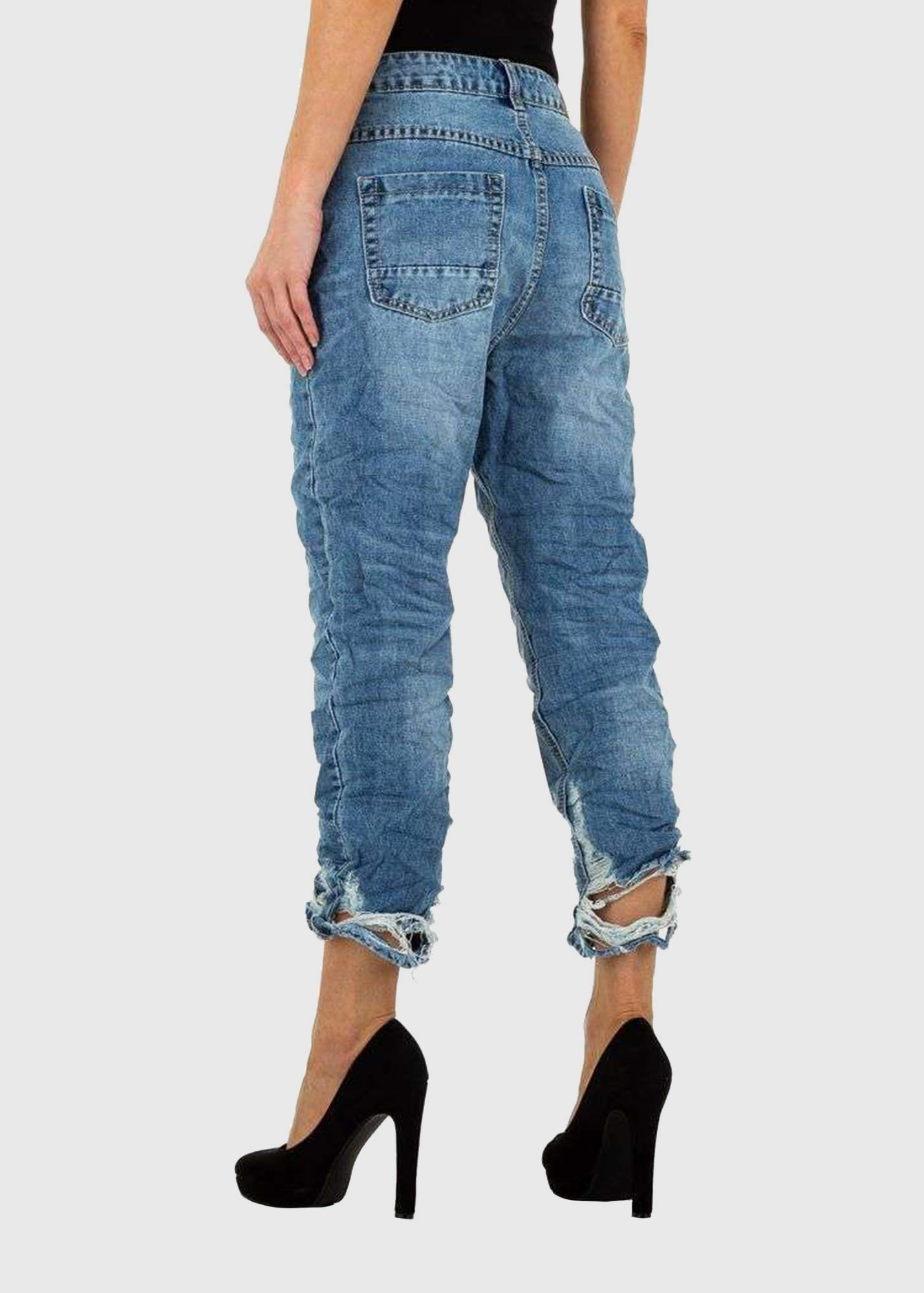 Photo №1 Ornella Skinny Fit blue ripped jeans