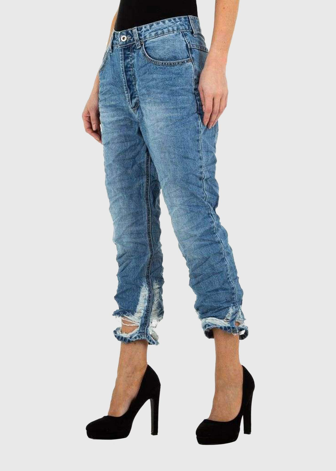 Photo №2 Ornella Skinny Fit blue ripped jeans